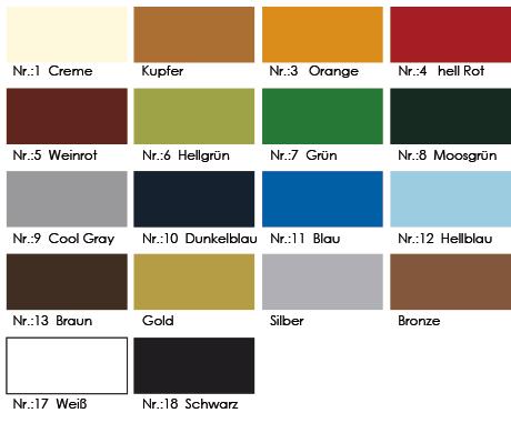 Speisekarten Prägung Farben