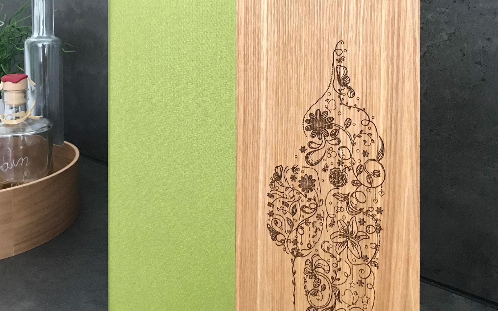Speisekarete aus Holz Showcase